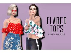 The Sims 4 Flared Tops by descargassims