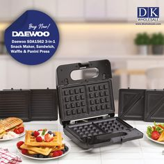 POWERFULL SNACK MAKER- Our new 3-in-1 Snack Maker and Panini Machine is a powerful and versatile cooking tool, the 750W of power creates perfectly crisp and toasty snacks for you to enjoy GOOD 3-in-1 DETACHABLE PLATES- This grill comes with three varieties of detachable non-stick plates which can be used to make triangle toasties, waffles and perfect paninis in the comfort of your home. Panini Machine, Panini Press, Domestic Appliances, Fruit Juicer, Waffle Sandwich, Grill Plate, Paninis, Waffle Iron, Cooking Tools