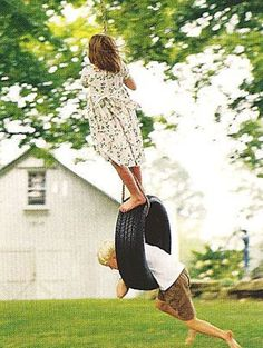 I had a tire swing at the cabin growing up. #summertime kids playtime #playtime summer ideas #luxurykids . Find more inspirations at www.circu.net #weightlossbeforeandafter
