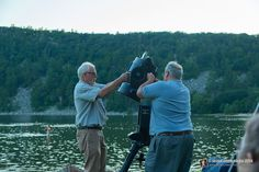 "Astronomers set up for ""Watching The Night Sky"" program at Devil's Lake State Park - www.devilslakewisconsin.com"