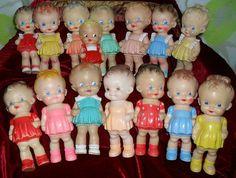 Vintage Squeak Toys -   All dolls Sun Rubber Co Barberton Ohio USA 1950s.