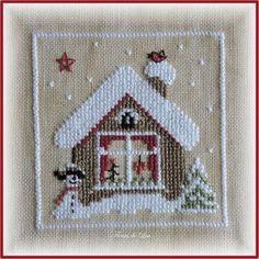 Bonjour Me voici de retour de la Neuville-Roy Toujours aussi sympa, mais j'ai oublié de prendre une photo de mon stand !!! Je vous montre aujourd'hui le 3ème carré de notre projet nostalgique, une jolie maisonnette, au milieu de la neige, un petit bonhomme...