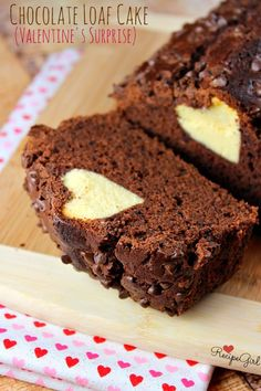 Chocolate Loaf Cake with a Valentine's Surprise Inside - RecipeGirl.com