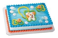 "One Bubble Guppies Bubble Puppy Edible Sugar Cake Decoset Topper Set includes: - one 3"" Bubble Puppy - two 1"" Bubble Fish - three .5"" Bubble Stars Made from sugar and food colorings Kosher certified U"