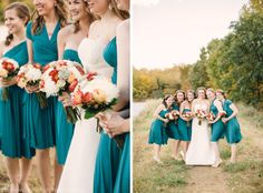 Teal transformer dresses on the bridesmaids: flattering, unique  // deanna + michael: a fall shelby farms wedding. Memphis wedding photography by Amy Hutchinson Photography