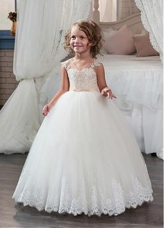 #Dressilyme - #Dressilyme Dressilyme Stunning Tulle & Satin Scoop Neckline Ball Gown Flower Girl Dresses With Beaded Lace Appliques - AdoreWe.com