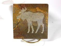 MOOSE 4x4 Art Tile Coaster  Carved Natural от BlythHouseCreations