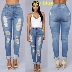 04359e8e47 Ripped Denim High Waist Pencil Jeans-Blue