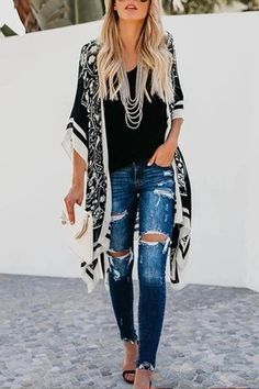 Apr 2020 - Printed Loose Casual Long Blouse Coat Cardigan – linenlooks cardigans on dresses,cardigans for women,cardigans outfit Cardigan Long, Cardigan Outfits, Cardigan Sweaters For Women, Casual Outfits, Fashion Outfits, Long Cardigan Outfit Summer, Summer Outfits, Summer Fashions, Emo Outfits