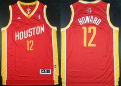 Houston Rockets #12 Dwight Howard Revolution 30 Swingman Red With Gold Jersey