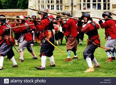 Stock Photo - English Civil War, Pikemen, century, historical re-enactment, soldier soldiers advancing in battle order with pikes military iniform uniforms England UK Early Modern Period, England Uk, 17th Century, Warfare, Medieval, Battle, Military, English, Stock Photos