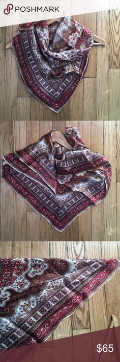 "Vintage Red & Ivory Silk Paisley Scarf 30"" Square Vintage Red & Ivory Silk Paisley Scarf. Print is red, tan, lavender, brown, ivory. Perfect condition. 30"" Square. A gorgeous scarf! No trades, bundle discount available! Madewell Accessories Scarves & Wraps"