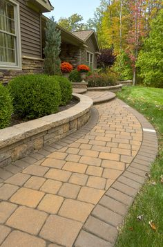 Love this walkway! EP Henry Old Towne Cobble in Harvest Blend