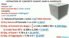 Estimation of Concrete Cement,Sand &:Aggregate with a short trick. Civil Engineering Handbook, Engineering Notes, Civil Engineering Design, Civil Engineering Construction, Road Construction, Concrete Ratio, Concrete Cover, Concrete Cement, House Layout Plans