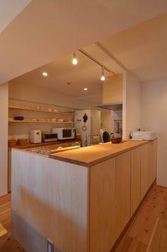 Kitchen Bar Design, Home Decor Kitchen, Kitchen Interior, Interior Design Living Room, Home Kitchens, Luxury Dining Room, My Home Design, Japanese Interior, Wooden Kitchen