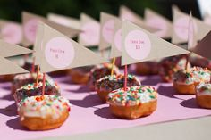 Although I'm not a doughnut person, I love the idea of sweets being the name card.