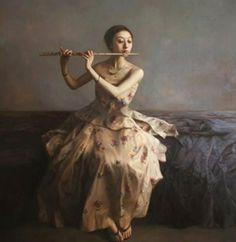 Zhao Kailin ~ Beautiful Melody Art Asiatique, Painting Words, Realistic Paintings, Art Academy, Illustrations, Magazine Art, Chinese Art, Figurative Art, New Art