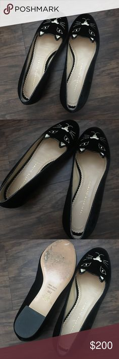 Charlotte Olympia Black Velvet Kitty Flats 38.5 This is absolutely authentic and gently used - a pair of Charlotte Olympia Kitty Flats in beautiful velvet from Charlotte Olympia.  This is in the size 38.5 which in my humble opinion would fit a size 8 best.  There is some wear to the soles but hardly as it was worn only a few times. Poshmark only and no trades (please don't ask). Charlotte Olympia Shoes Flats & Loafers