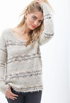 Contemporary Eyelash Knit Striped Sweater
