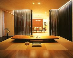 "I like this idea for a tatami room as eel, but I would make the table ""floating"" so people can sit normally. Modern Japanese Interior, Japanese Home Design, Japanese Home Decor, Japanese Modern, Japanese House, Modern Interior Design, Asian Architecture, Contemporary Architecture, Tatami Room"