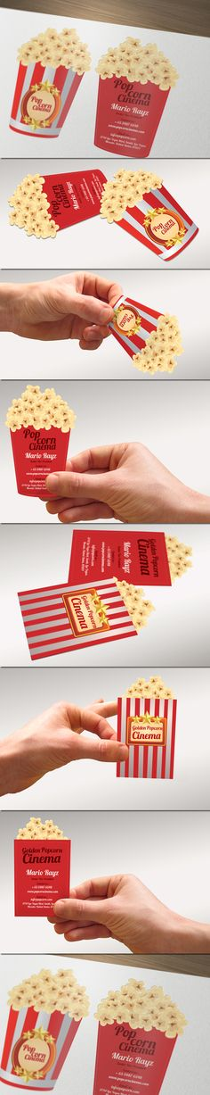 Popcorn cinema business card by Lemongraphic (Singapore) Creative Box, Creative Business, Cool Business Cards, Business Card Design, Cinema Party, Bussiness Card, Stationery Design, Business Branding, Popcorn Bags