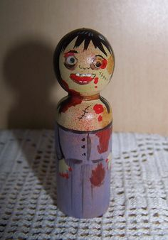 Zombie girl hand painted wood peg doll or by suesizemore on Etsy, $16.99