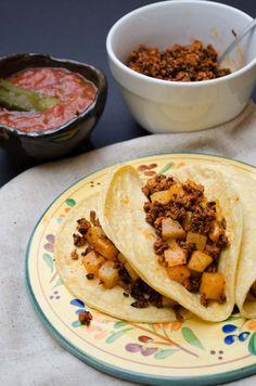Vegan Chorizo - pictured here in papas con chorizo.  Enjoy in any of your favorite chorizo dishes