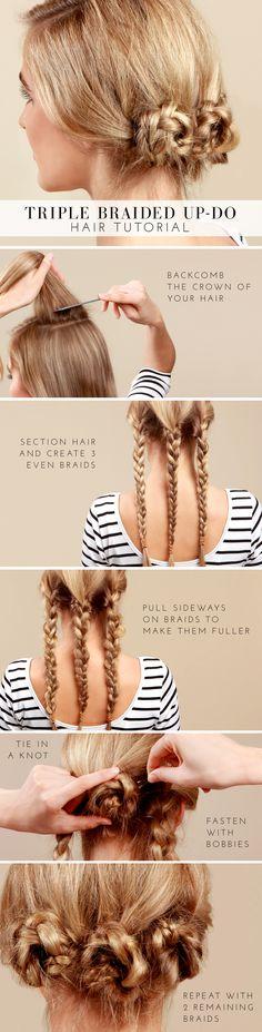 Lulus.com How-To: Triple Braided Bun Tutorial