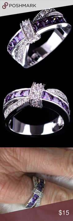 Size 6.5 purple clear amethyst ring fibromyalgia NWOT Size 6.5 purple clear amethyst ring, gold filled, fibromyalgia awareness. Silver color. ‼️FIRM UNLESS BUNDLED ‼️ Jewelry Rings