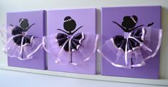 Set of three handmade canvases with Dancing Ballerinas in purple and lavender tutus. Each canvas is 8 X 10. The background and ballerinas are painted with acrylic paint.  Dancers are decorated with satin and tulle dresses, silk ribbons, beads and rhinestones.   Cute gift idea for baby shower or any ballerina lover.  Custom orders are always welcome.