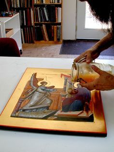 Olifa – Linseed Oil Varnish for the Egg Tempera Icon — Saint Gregory of Sinai Monastery Byzantine Icons, Byzantine Art, Monastery Icons, Greek Icons, Saint Gregory, Paint Icon, Painted Leaves, Religious Icons, Catholic Art