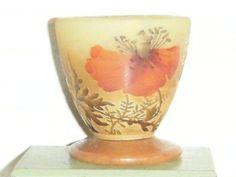 RARE Beautiful Signed Daum Nancy Cameo Glass Egg Cup Poppies Antique | eBay