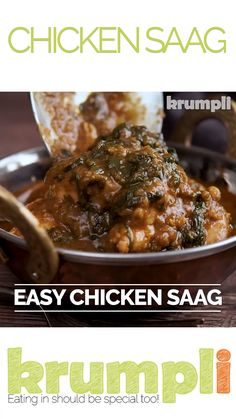 A chicken saag or saagwala is a popular dish on the British Indian Curry restaurant menu, simple and medium spiced this has your spinach requirement covered. Meat Recipes For Dinner, Veg Recipes, Curry Recipes, Easy Chicken Recipes, Indian Food Recipes, Healthy Recipes, Turkish Recipes, Comida India, Curry Dishes