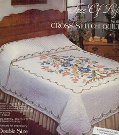Tobin Stamped Cross Stitch Double Size Quilt-Tree, , hi-res