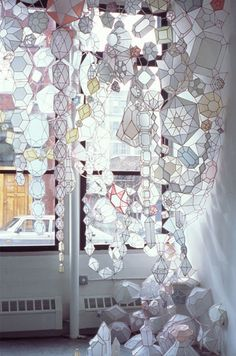 kristen hassenfeld paper jewels installation  This women does amazing work, alot from re-cycled, found items!