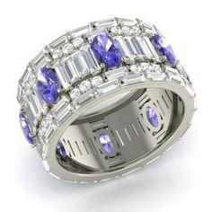 Oval-Cut Tanzanite Cocktail Ring in 14k White Gold with SI Diamond ,VS Diamond