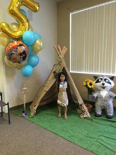 Sophias 5th bday party pocahontas theme and handmade meeko pinata