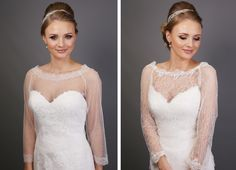 French Spot Tulle Shrug - SH32-1 and French Lace Shrug - SH32-2.