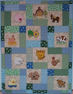 Looking for quilting project inspiration? Check out Baby Farm Quilt by member SandiePink.I don't like this Farm Baby Quilt, but I like the layout and it could be easily applied to better themes.Replace animal blocks with photos - for a photo quilt. Cot Quilt, Baby Boy Quilts, Baby Quilts To Make, Easy Quilts, Small Quilts, Quilting Projects, Quilting Designs, Quilting Ideas, Farm Quilt