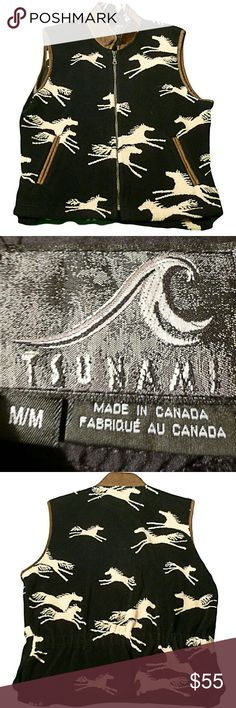 Tsunami Vest Black Off White & Tan Horses Medium Beautiful vest which has a soft fleece feel and has a brown suede collar to accent the horse design.  Tsunami brand made in Canada. Tsunami Other