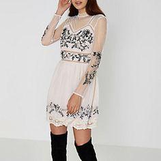 Cream embroidered dobby mesh high neck dress