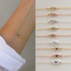 NEW Evil eye charm bracelet  tiny cz evil eye  mini evil by 19bis
