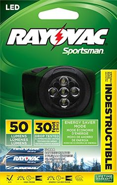Rayovac Outdoor Indestructible 35 Lumen High Performance Headlight  OTHL3AAAB ** Continue to the product at the image link.
