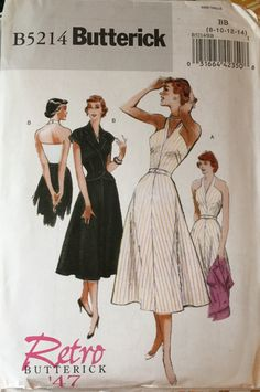 6781d5251 Butterick Misses Retro Style Halter Dress and Crop Jacket Pattern. Pattern  5214 is UNCUT and in factory folds.