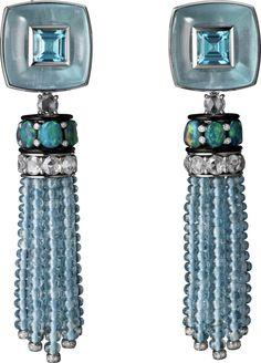 CARTIER. Tassel Earrings - platinum, two cabochon-cut aquamarines, tourmaline, opals, aquamarine beads, black lacquer, diamonds