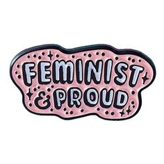Feminist & Proud Pin from Punky Pins at Beadesaurus | Free UK Shipping... (€45) ❤ liked on Polyvore featuring jewelry, brooches, pin jewelry, dot jewellery, star jewelry, dot jewelry and star brooch