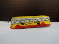 Vintage J Chein Co 1950's Tin Litho Grey Hound Bus Wind Up Tin Toy