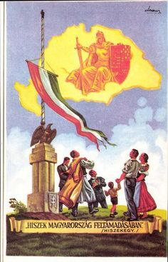 Kingdom of Hungary, irredentist anti-Treaty of Trianon poster. Yellow map outline shows borders. Map Outline, Alternate History, Budapest Hungary, My Heritage, Eastern Europe, Holy Spirit, Denmark, Fantasy, Artist