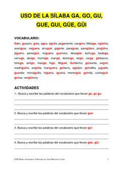 LENGUA 1º: FICHAS DE REPASO: ga, go, gu, gue, gui