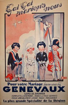 Genevaux by Jack original vintage poster from 1920 France. This original antique poster advertising \'\'Genevaux\'\' a merchant that specialized in Marriage clothing.